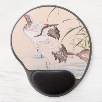 Bird and Flower Album, Wading Cranes vintage art Gel Mousepads