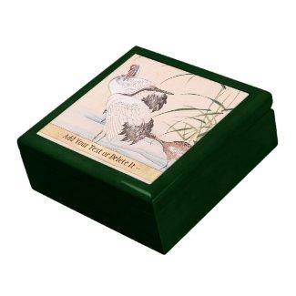 Bird and Flower Album, Wading Cranes vintage art Keepsake Box