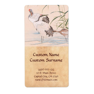 Bird and Flower Album, Wading Cranes vintage art Shipping Label