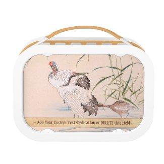 Bird and Flower Album, Wading Cranes vintage art Yubo Lunch Box