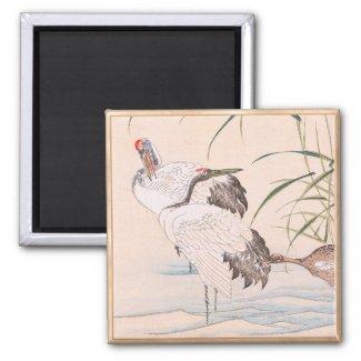 Bird and Flower Album, Wading Cranes vintage art Fridge Magnet