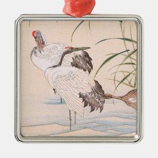 Bird and Flower Album, Wading Cranes vintage art Metal Ornament