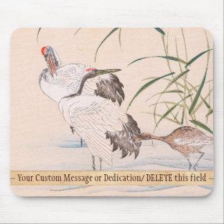 Bird and Flower Album, Wading Cranes vintage art Mouse Pad