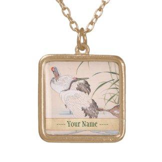 Bird and Flower Album, Wading Cranes vintage art Custom Jewelry