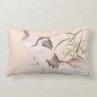 Bird and Flower Album, Wading Cranes vintage art Throw Pillow