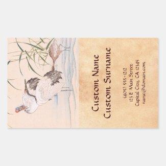 Bird and Flower Album, Wading Cranes vintage art Rectangular Stickers