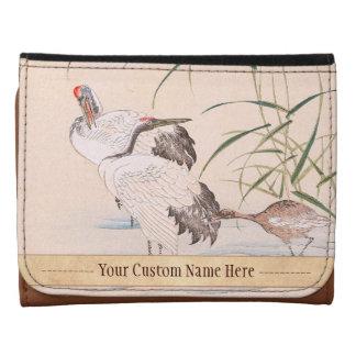 Bird and Flower Album, Wading Cranes vintage art Leather Wallets