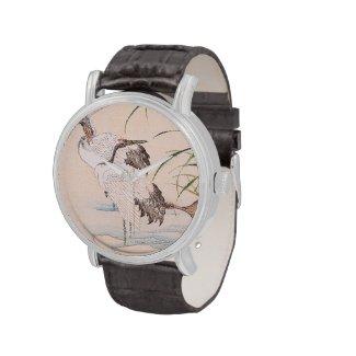 Bird and Flower Album, Wading Cranes vintage art Wrist Watch