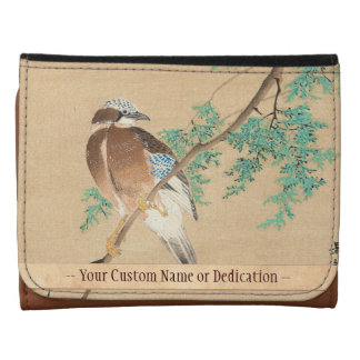 Bird and Flower, Eurasian Jay and Chinese Arborvi Leather Wallet