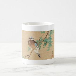 Bird and Flower, Eurasian Jay and Chinese Arborvit Coffee Mug