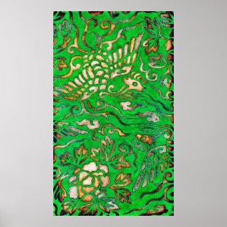 Bird and Flower Motif Textile Design 1878 Poster