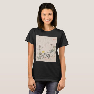 Bird and Flower on Woodblock T-Shirt