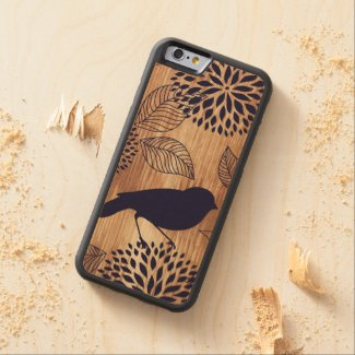 Bird and Flower Wood Carved® Maple iPhone 6 Case