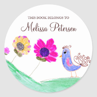 Bird and Flowers Bookplates Classic Round Sticker