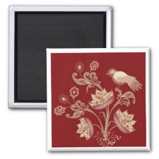 Bird and flowers on red square magnet