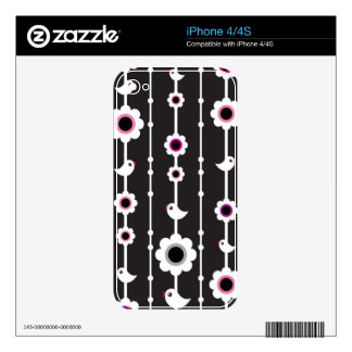bird and flowers pattern iPhone 4 decal