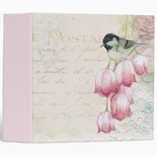 Bird and Flowers with Handwriting Shabby Vintage Binder