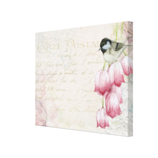 Bird and Flowers with Handwriting Shabby Vintage Canvas Print