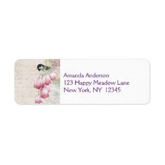 Bird and Flowers with Handwriting Shabby Vintage Label