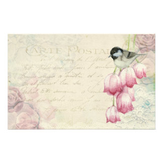 Bird and Flowers with Handwriting Shabby Vintage Stationery