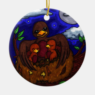 Bird and her Babies Ceramic Ornament
