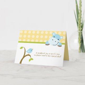 Bird and hippo polkadots baby shower invitation card