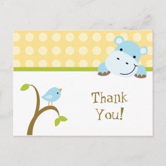 Bird and hippo polkadots thank you postcard postcard