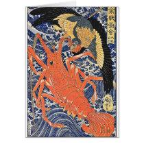 Bird and Lobster Japanese Woodblock Art Ukiyo-E Card