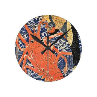 Bird and Lobster Japanese Woodblock Art Ukiyo-E Wall Clock