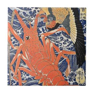 Bird and Lobster Japanese Woodblock Art Ukiyo-E Tile