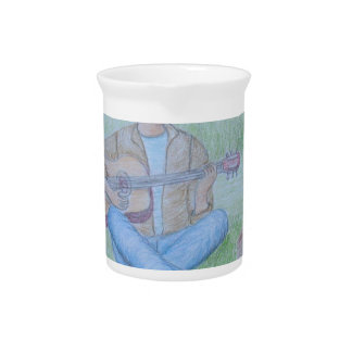 bird and man singing drink pitcher