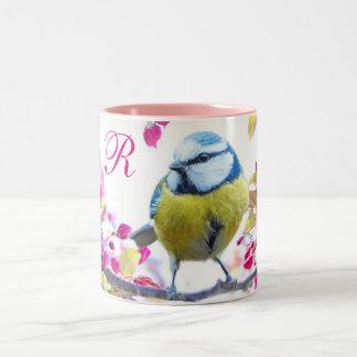 Bird and Pink Blossoms Two-Tone Coffee Mug