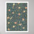 'Bird and Pomegranate' Wallpaper Design, printed b Poster