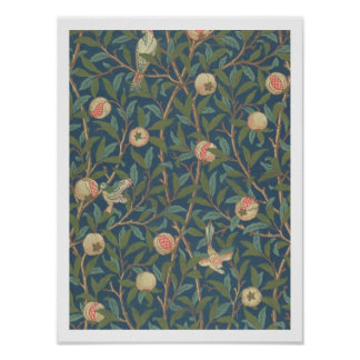 'Bird and Pomegranate' Wallpaper Design, printed b Poster