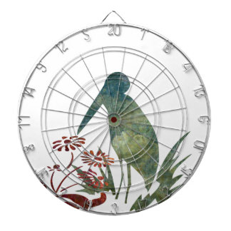 Bird and Red Flowers Dart Board