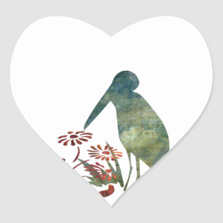 Bird and Red Flowers Heart Sticker