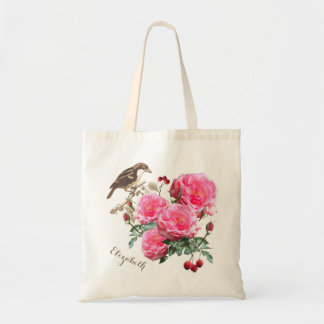 Bird and Roses Boho Personalized Gift Bag