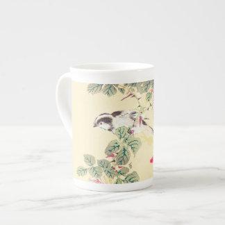 Bird and Roses Imao Keinen ukiyo-e flowers Japan Tea Cup