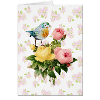 Bird and Roses Vintage Style original art Card