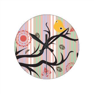 Bird and Tree Round Clock