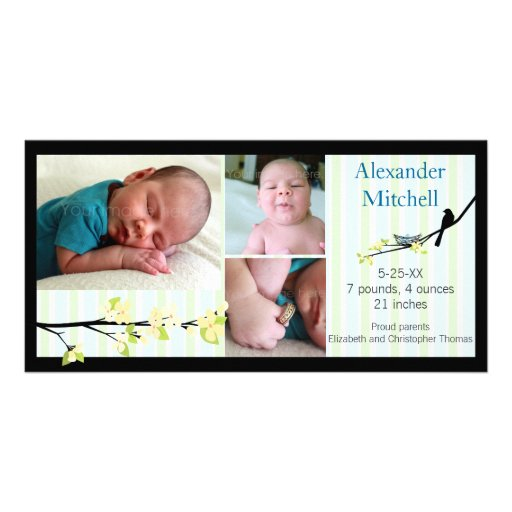 Bird and Yellow Blossoms Birth Announcement Photo Card