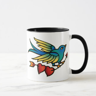 Bird Arrow and Hearts Mug