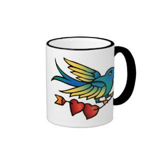 Bird Arrow and Hearts Ringer Mug