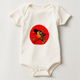 bird art bold read and black detailed baby bodysuit