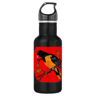 bird art bold read and black detailed water bottle