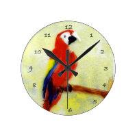 Bird Art Colorful Macaw Parrot Round Clock