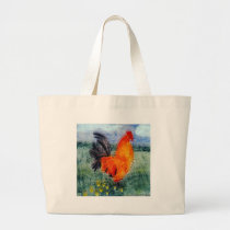 Bird Art Rooster Chicken Large Tote Bag