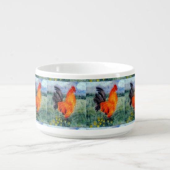 Bird Art Rooster Chickens Bowl