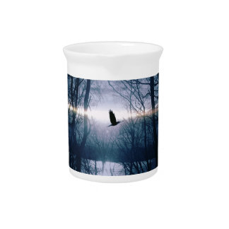 Bird at moonlight pitcher