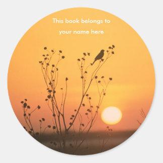Bird at sunset photograph bookplate stickers